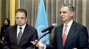 New York: India's Permanent Representative to the United Nations Syed Akbaruddin speaks during a reception in the honour of Justice Dalveer Bhandari (L) at the United Nations in New York on Monday. India's Dalveer Bhandari won the votes in the UN General Assembly to make it to the International Court of Justice after UK pulled out the race. PTI Photo (PTI11_21_2017_000023B)